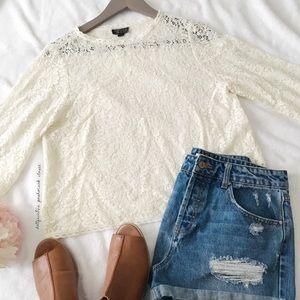 TopShop Quarter Sleeve Lace Top